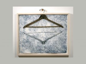 "To hang or knot to hang, 2015, woodcut, monotype, hanger, on Somerset velvet, 22"" x 24"" x 2"""