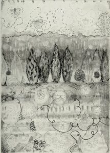 """Firefly dance with Tree Line, graphite and charcoal on paper, 2014, 9"""" x 6 1/2"""""""