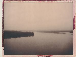 "The Appoquinimink in Morning Fog, 2012, Archival Pigment Print on Hahnemuhle 308g Smooth Rag from scanned 3.25"" x 4.25"" expired Polaroid Chocolate film"