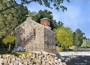 "Breck's Mill, Brandywine Valley, DE; Watercolor; 24"" x 32"""