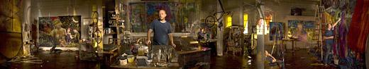 """James Lipovac's studio, 2008. Archival pigment print, 36""""x7""""."""