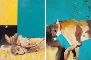 "Left: Lilith's refusal, 2010, oil on canvas, 36"" x 48"" Right: When the light captured her, 2009, oil on canvas, 36"" x 48"""