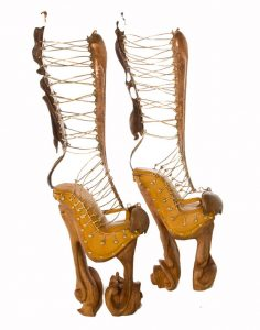 "Athena's Boots, 2009, wood, copper, brass, leather, 28"" x 4"" x 12"""