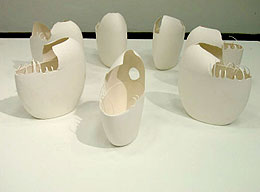 Ethereal Duplication, 2008, porcelain, 14 x 14 x 4 each