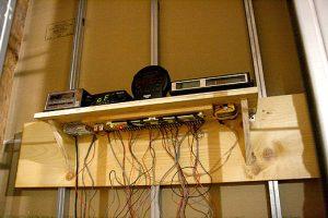 "Radio Silence, 2009, electronic sculpture, 36""(w) x 10""(h) x 11""(d)"