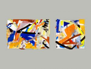 "Jazz: Thinking Out Loud, Reaching for Song #29-30, 2011, Papers, oil, flashe, pencil, MSA gel, 32"" x 94 """