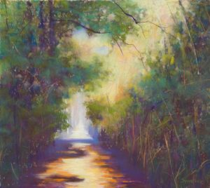 "Woodland Series: Sunlit Path, 2012, pastel, 18"" x 12"" x 2"""