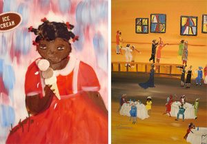 "Left: Sweet Treats, 2010, acrylic on tile, 10"" x 9"" Right: Harlem Renaissance, 2009, acrylic on canvas, 24"" x 18"""