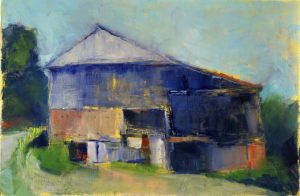 "Barn, Jackson School Road, 2011, oil on paper, 10 "" x 7 """