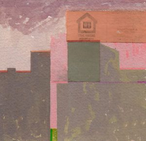 "BlueSkyGreenGrass II, 2014 gouache, painted paper, colored pencil on paper 4"" x 4"""
