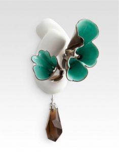 """Blue Brooch, 2011, copper, enamel, silver, cast acrylic, smoky quartz, 3"""" x 2"""" x 2"""""""