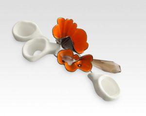"Orange Brooch, 2011, copper, enamel, silver, cast acrylic, 3"" x 3.5"" x 2"""