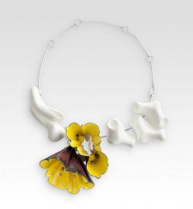 "Yellow Necklace, 2011, copper, enamel, silver, cast acrylic, 12"" x 12"" x 2"""