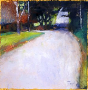 "Country Road, Lancaster County, PA , 2012, Oil on paper, 7.5"" x 27.5"""
