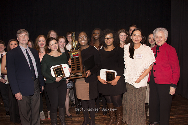 Front: Delaware Division of the Arts Director Paul Weagraff, Kate Goorland, Hannah Sturgis, Eden Negusse, Delaware Poet Laureate JoAnn Balingit, Delaware State Arts Council Chair Lise Monty. Back: Andrew S.K. Dingwall, Kana Turley, Brianne Gray, Caitlin Mannering, Jessica Pigeon, Shannon Murray, Jake Sheir, Jarinat Sola-Rufai, Hannah Duffy, Frank Thomson, Genevieve Hahn. Not shown: Reanna Virginia Skinner, Gustavo Silveira. Photo by Kathleen Buckalew