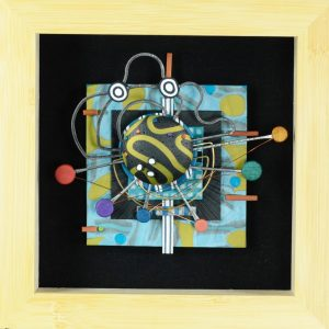 """Brooche - Wall Art to Wear-Cosmic, 2016 Steel, brass, copper, polymer clay with wood frame and polymer art 6"""" x 6"""" x 1.5"""""""