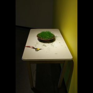 Up and Down, detail: grass clipping station, 2016 grass, scissors, table 14' x 14' x 20'