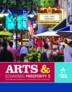 Front cover to the Arts and Economic Prosperity 5 The Economic Impact of Nonprofit arts and cultural organizations and their audiences in the state of Delaware report from the Americans for the Arts featuring an image of an expanded sidewalk and street in an area labeled as the arts district filled with people enjoying all the activities offered such as dining shopping shows local businesses and galleries