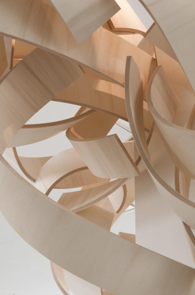 """Entwine (detail), 2017, poplar and mahogany wood, 14"""" x 36"""" x 12"""" (overall)"""