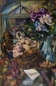"Circular Conversation, 2015, oil on canvas, 38"" x 24"""