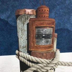 image of a ship's lantern on a dock
