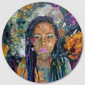 Painted portrait of African American woman using oil paints.