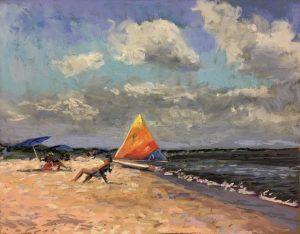 pastel painting of beach scene