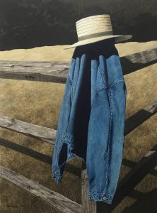 painting of a denim shirt and hat on a fence post