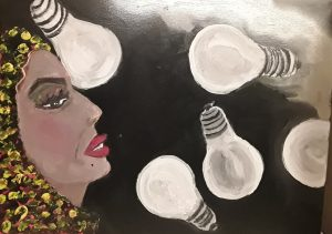 painting of a woman in profile with lightbulbs in front of her