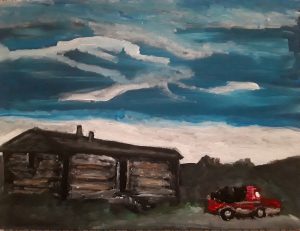 painting of a log cabin with a red truck in front of it