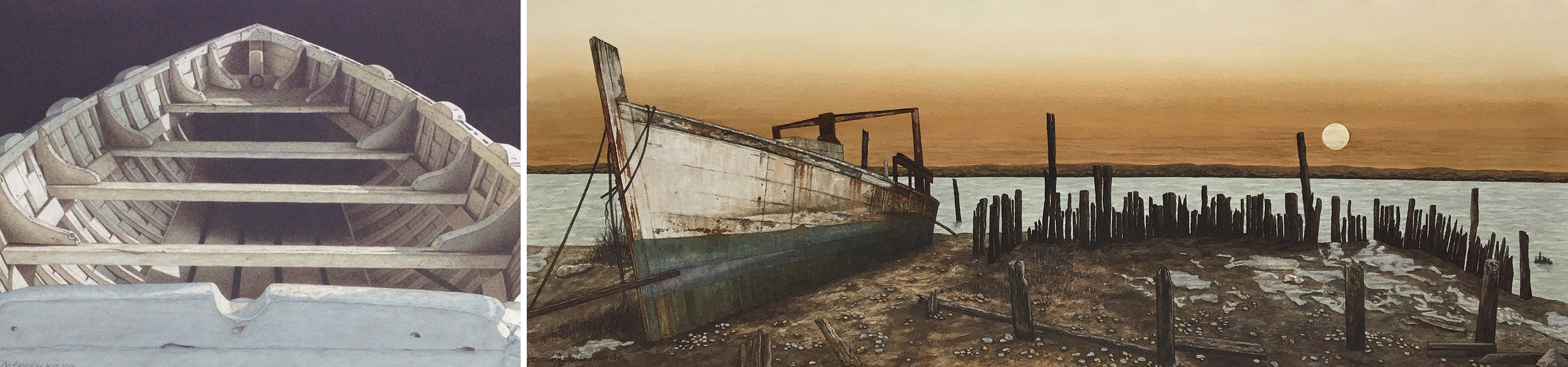 Eberle's paintings Skiff old, white, wooden boat on dark background and Daybreak boat on sandy shore next to the remnants of an old, wooden pier in front of water with a sunrise in the background