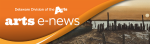 Arts E News logo banner orange graphic element with Delaware Division of the Arts logo and arts e news logo on left hand side and Howard J Eberles painting Daybreak of an old rotted pier on the beach in front of water with the sun rising in the background on right hand side