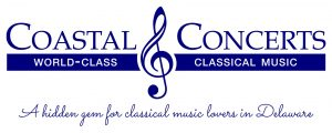 Coastal Concerts logo with tagline Coastal Concerts World Class Classical Music A Hidden gem for classical music lovers in Delaware Coastal Concerts in blue text above world class classical music in white text on a blue background with a blue treble clef separating the words coastal and concerts with tagline A hidden gem for classical music lovers in Delaware written in blue text below