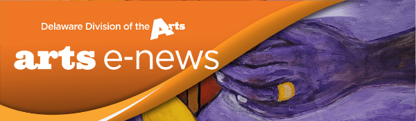 Delaware Division of the Arts Arts E News orange banner logo in top left corner over Theresa Angela Taylors painting Moon To Heart a dark purple hand reaches in from the right side to touch a red heart on a purple background